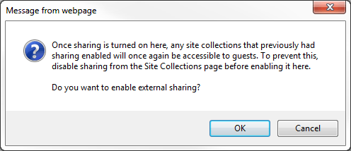 Enable External Sharing Warning